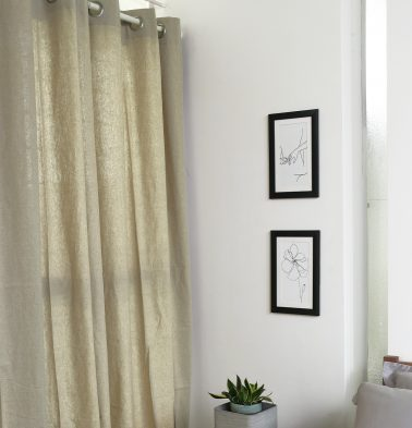 Textured Linen Curtain Flax Beige