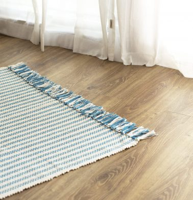 Broad Striped Handwoven Cotton Rug Blue 36