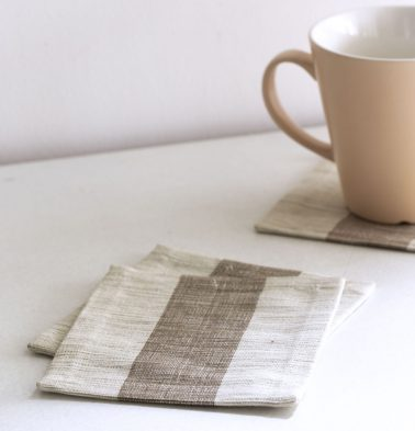 Handwoven Stripe Cotton Coasters Beige – Set of 6