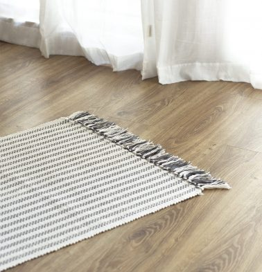 Broad Striped Handwoven Cotton Rug Grey 24