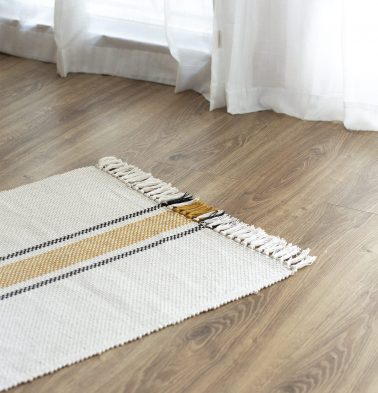 Broad Striped Handwoven Cotton Rug Mustard/Black 24