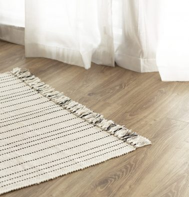 Fine Striped Handwoven Cotton Rug Black 36