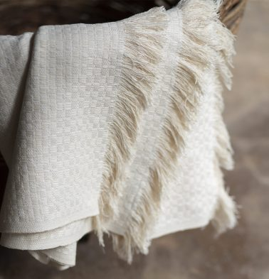 Handwoven Cotton Throw Natural White