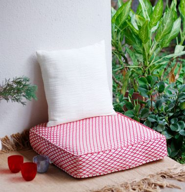 Handwoven Holiday Cotton Floor Cushion Red