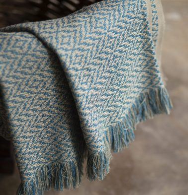 Herringbone Handwoven Cotton Throw Blue Moon