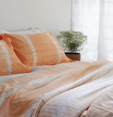 Tequila Sunrise Cotton Bedsheet Peach - With 2 pillow covers